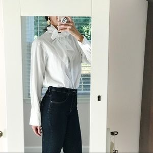 LRL White Long Sleeve Neck Tie Button Down Shirt
